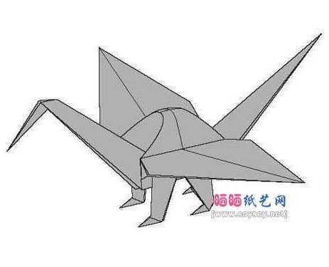仙鹤折纸 宫岛登的四足鹤手工折纸教程图解